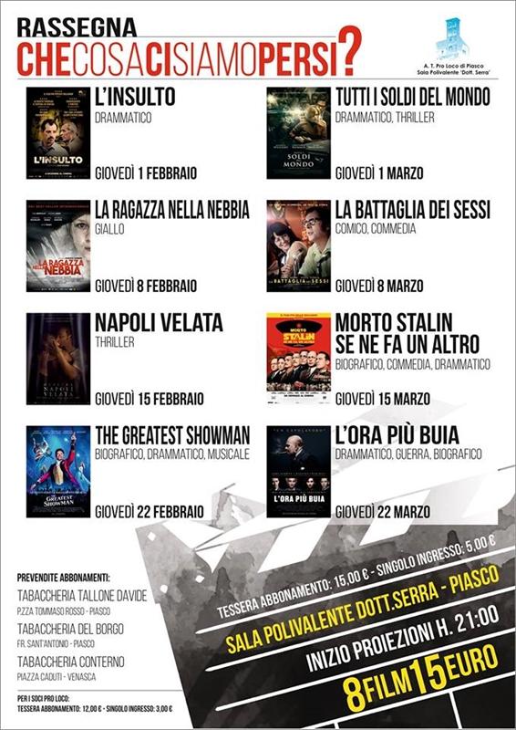Al Cinema di Piasco ritorna la rassegna con film a prezzi scontati!